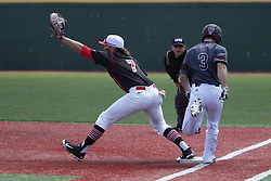 26 April 2015:  Mason Snyder stretches to reach a throw from 2nd in an attempted double play but Blake Graham steps on the base ahead of the catch during an NCAA Division I Baseball game between the Missouri State Bears and the Illinois State Redbirds in Duffy Bass Field, Normal IL