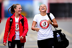 Charlie Wellings of Bristol City and Abi Harrison of Bristol City arrives at Ashton Gate prior to kick off - Mandatory by-line: Ryan Hiscott/JMP - 07/09/2019 - FOOTBALL - Ashton Gate - Bristol, England - Bristol City Women v Brighton and Hove Albion Women - FA Women's Super League