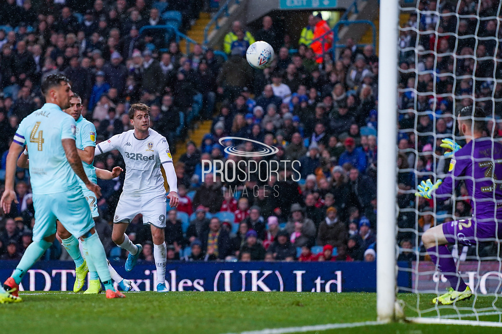 Leeds United forward Patrick Bamford (9) takes a shot during the EFL Sky Bet Championship match between Leeds United and Queens Park Rangers at Elland Road, Leeds, England on 2 November 2019.