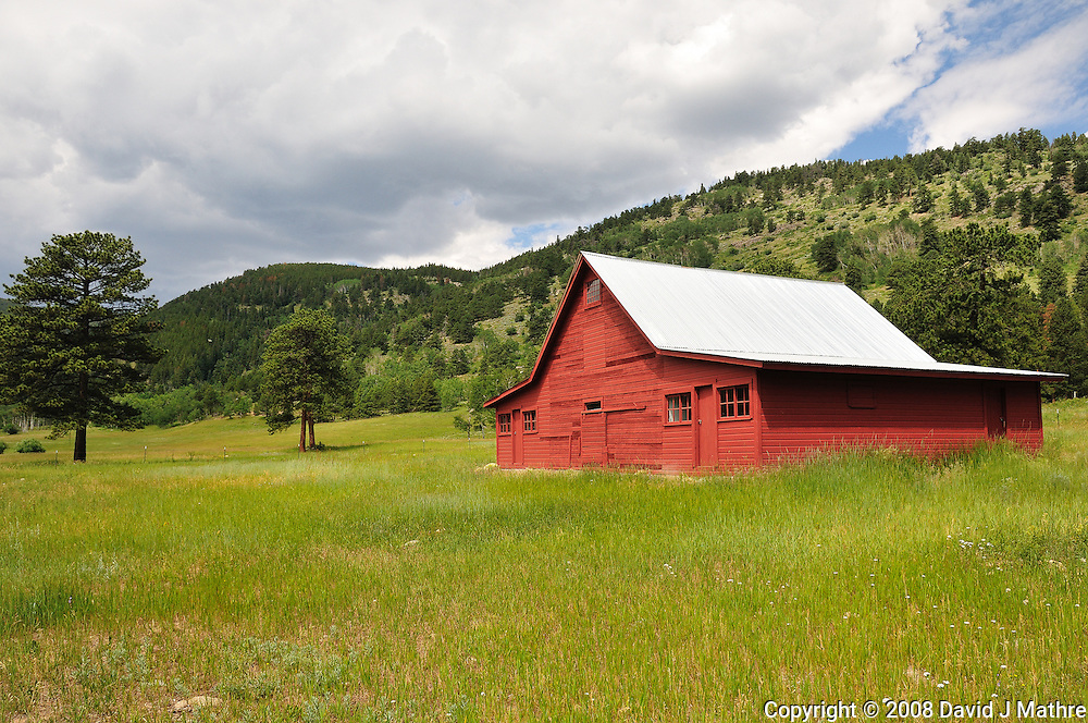 Red Barn at Caribou Ranch in Boulder County, Colorado. Image taken with a Nikon D300 and 18-200 mm VR lens (ISO 200, 18 mm, f/9, 1/320 sec).