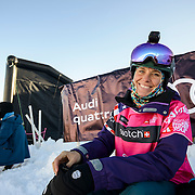 Anne-Flore Marxer is no stranger to riding in Alaska. All smiles during course inspection at the Freeride World Tour in Haines, Alaska.