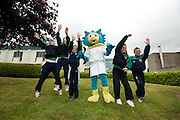 Oltan, Hse Community games Mascot having some fun with  from Left David Ryan, Gearoid Mitchell, Conor McCarthy, Roy Gleeson and  Stephen Scanlon from  Limerick at AIT(Athlone Institute of Technology ) practising before performing at  the HSE Community Games National finals 2010. Photo:Andrew Downes.