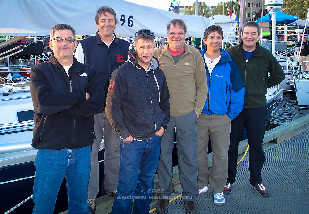 Riva is ready to go!  The crew of J/46 Riva: Scott Campbell, Dave Moran, Charles Rice, Nelson Rolens, Blain Goold and Andrew Haliburton.  2014 Swiftsure International Yacht Race, Victoria, British Columbia, Canada.  Olympus Tough TG-1.