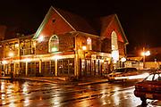 Charming shops at night, Bar Harbor, Maine, USA.