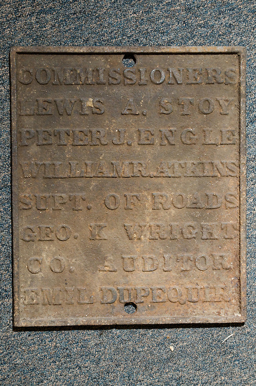 A plaque from the 1890's from the Floyd County Courthouse is one of many historical items that will be displayed at the new Corydon Pike location, Thursday, July 26, 2012, at Liquid Sound Studios in Greenville, Ind. (Photo by Brian Bohannon)