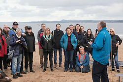 Our Forth event on Portobello beach celebrating the past year of campaigning against fracking and unconventional gas extraction and highlighting the continued campaign towards permanent bans on all forms of unconventional gas extraction. Andy Wightman MSP addresses people gathered on the beach.<br /> <br /> &copy; Jon Davey/ EEm