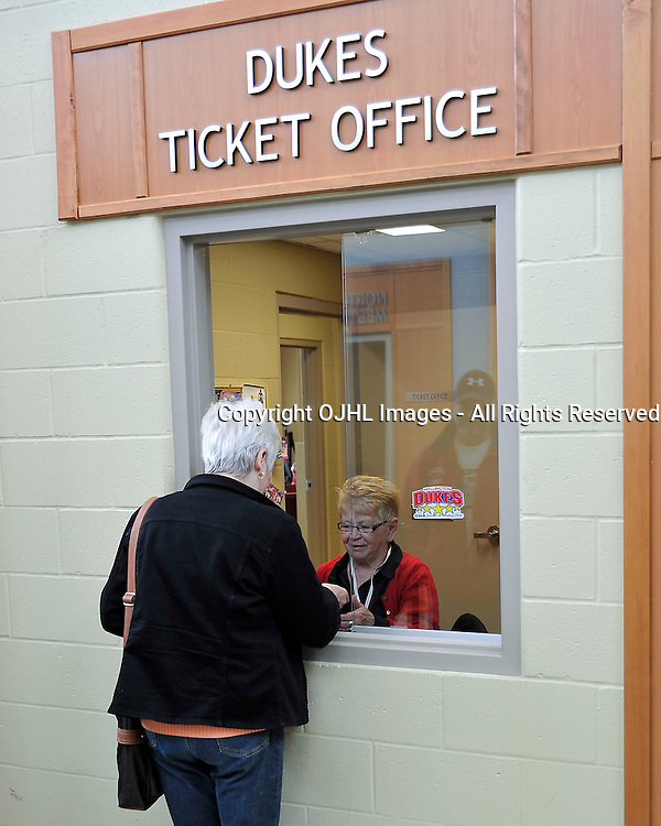WELLINGTON, ON - May 3 : Dudley Hewitt Cup, Central Canadian Jr &quot;A&quot; Championship Game. Wellington Dukes vs. Toronto Lakeshore Patriots. Wellington Dukes ticket office opens to a long line of fans over 5 hours prior to the start of the game.<br /> (Photo by Shawn Muir / OJHL Images)