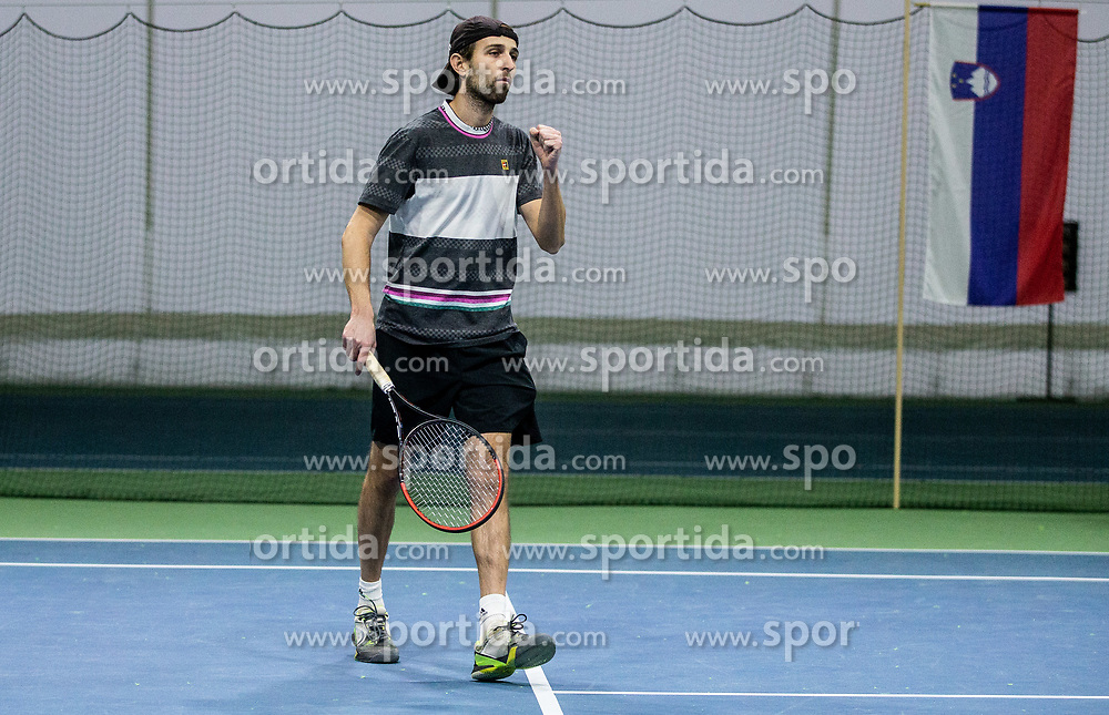 Toni Hazdovac playing final match during Slovenian men's doubles tennis Championship 2019, on December 29, 2019 in Medvode, Slovenia. Photo by Vid Ponikvar/ Sportida