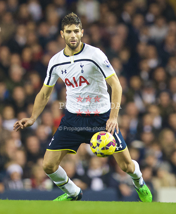 LONDON, ENGLAND - Sunday, November 30, 2014: Tottenham Hotspur's Federico Fazio in action against Everton during the Premier League match at White Hart Lane. (Pic by David Rawcliffe/Propaganda)