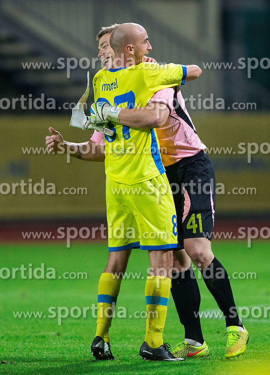 Benjamin Thomas Romain Morel #87 of Domzale and Nejc Vidmar #41 of Domzale celebrate after the football match between NK Domzale and ND Gorica in 10th Round of Prva liga Telekom Slovenije 2014/15, on September 24, 2014 in Sports park Domzale, Slovenia. Photo by Vid Ponikvar / Sportida.com