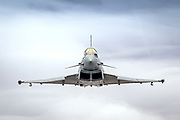 Royal Air force (RAF) Eurofighter Typhoon in flight. A twin-engine, canard-delta wing, multirole fighter. Photographed at Royal International Air Tattoo (RIAT)