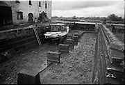 06-10/04/1964.04/06-10/1964.06-10 April 1964.Views on the River Shannon. Dry dock at the K. Line Boats workshop at Shannon Harbour, Co. Offaly