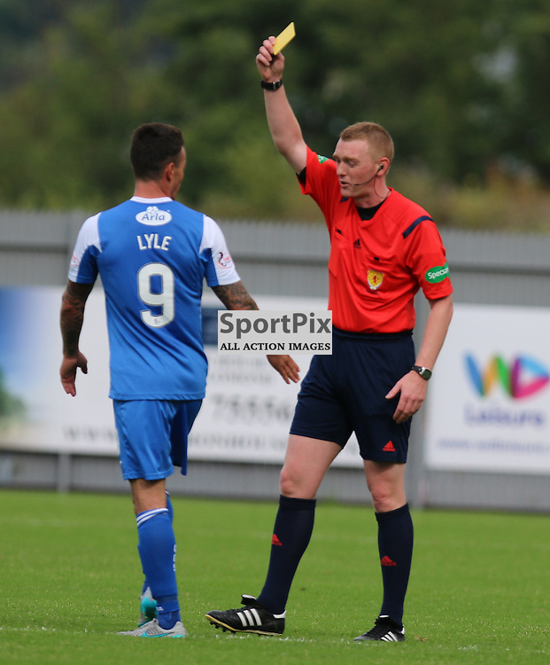 Derek Lyle is booked after his celebration at away fans during the Dumbarton FC V Queen of the South FC Scottish Championship 22th August 2015 <br /> <br /> (c) Andy Scott | SportPix.org.uk