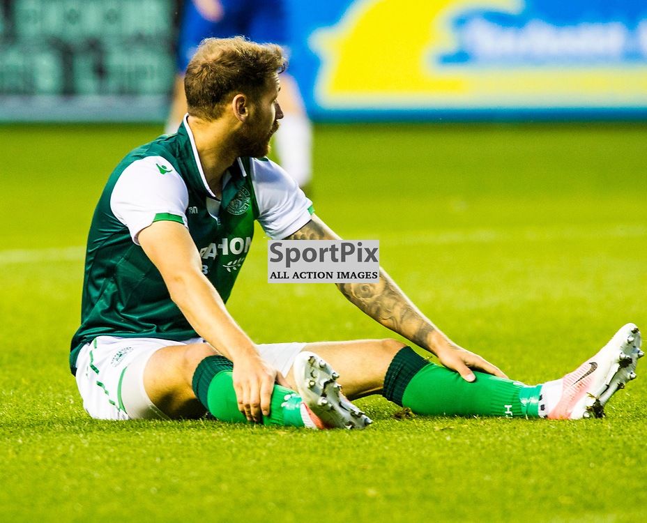 Pictured: Martin Boyle is stunned not to get a freekick<br /> <br /> Hibs welcomed Molde to Easter Road for their second home game of the Europa League campaign