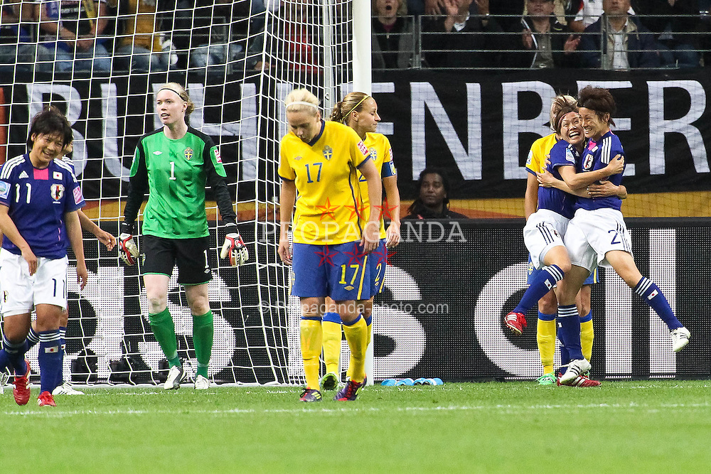 13.07.2011, Commerzbank Arena, Frankfurt, GER, FIFA Women Worldcup 2011, Halbfinale,  Japan (JPN) vs. Schweden (SWE), im Bild.Torjubel / Jubel  nach dem 1:1 durch Nahomi Kawasumi (Japan) mit Yukari Kinga (Japan).. // during the FIFA Women´s Worldcup 2011, Semifinal, Japan vs Sweden on 2011/07/13, Commerzbank Arena, Frankfurt, Germany.   EXPA Pictures © 2011, PhotoCredit: EXPA/ nph/  Mueller       ****** out of GER / CRO  / BEL ******