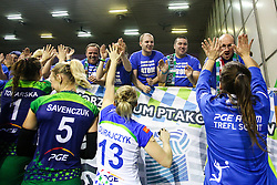Players of PGE Atom Trefl Sopot greet their fans after the volleyball match between Calcit Ljubljana and PGE Atom Trefl Sopot at 2016 CEV Volleyball Champions League, Women, League Round in Pool B, 1st Leg, on October 29, 2016, in Hala Tivoli, Ljubljana, Slovenia.  (Photo by Matic Klansek Velej / Sportida)