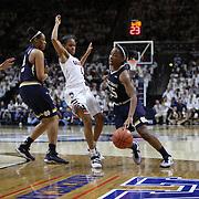 Lindsay Allen, Notre Dame, drives past Moriah Jefferson, UConn, during the Notre Dame Vs UConn Women's Basketball game at Grampel Pavilion, Storrs, Connecticut, USA. 5th December 2015. Photo Tim Clayton