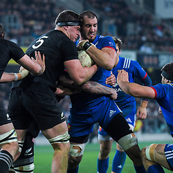 NZ's Scott Barrett and France's Yoann Maestri wrestle for the ball during the Steinlager Series international rugby match between the New Zealand All Blacks and France at Forsyth Barr Stadium in Wellington, New Zealand on Saturday, 23 June 2018. Photo: Dave Lintott / lintottphoto.co.nz