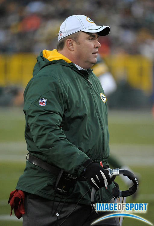 Dec 11, 2011; Green Bay, WI, USA; Green Bay Packers coach Mike McCarthy during the game against the Oakland Raiders at Lambeau Field. The Packers defeated the Raiders 46-16.