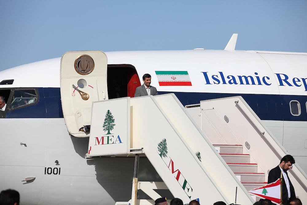 Iranian President Mahmoud Ahmadinejad arrives in Beirut.