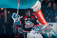 KELOWNA, CANADA - SEPTEMBER 24: Michael Herringer #30 of the Kelowna Rockets enters the ice against the Kamloops Blazers on September 24, 2016 at Prospera Place in Kelowna, British Columbia, Canada.  (Photo by Marissa Baecker/Shoot the Breeze)  *** Local Caption *** Michael Herringer;