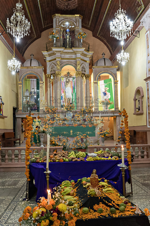 Interior view of the Janitzio Church decorated for the Day of the Dead festival on Janitzio Island, Michoacan, Mexico.
