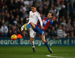 Chris Smalling of Manchester United (L) and Yohan Cabaye of Crystal Palace in action  - Mandatory byline: Jack Phillips/JMP - 07966386802 - 31/10/2015 - SPORT - FOOTBALL - London - Selhurst Park Stadium - Crystal Palace v Manchester United - Barclays Premier League