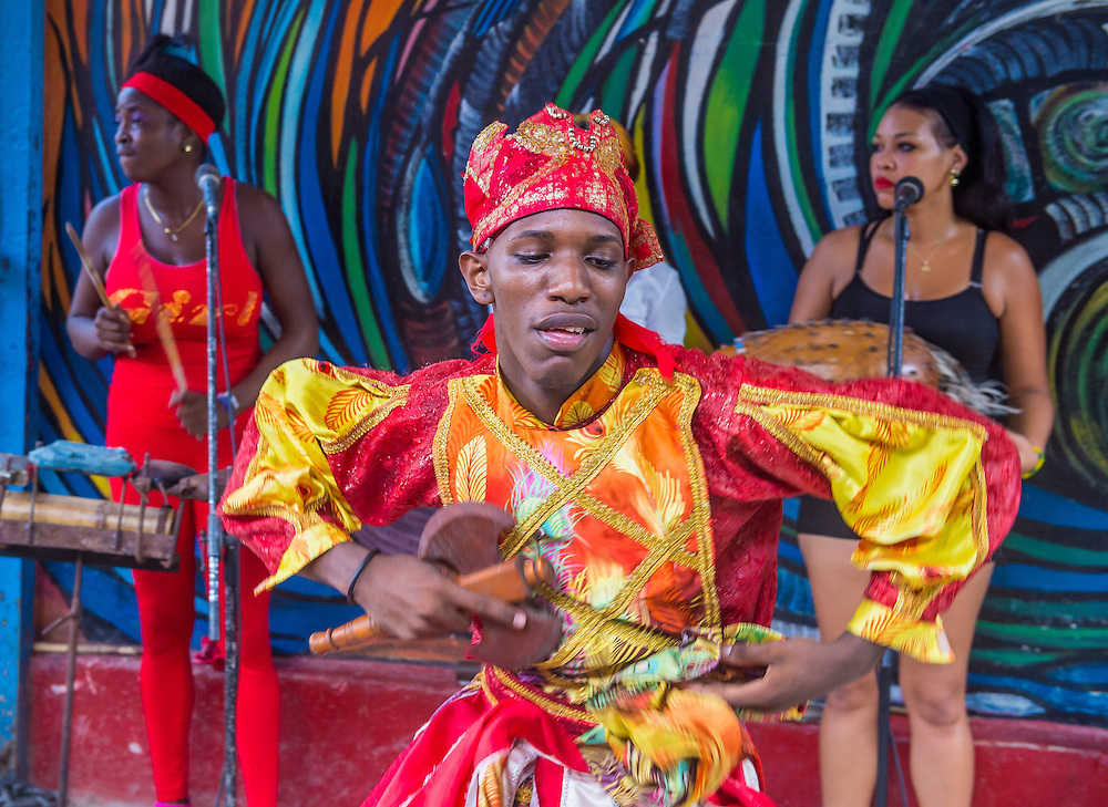 HAVANA, CUBA - JULY 18 : Rumba dancer in Havana Cuba on July 18 2016. Rumba is a secular genre of Cuban music involving dance, percussion, and song. It originated in the northern regions of Cuba