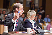 Apr. 20, 2009 -- PHOENIX, AZ: TERRY GODDARD, Attorney General of Arizona, testifies before the Senate committee hearing in Phoenix Monday. Goddard held up a department store gift card to make the point that gift cards are not considered currency and that drug traffikers use the gift cards in leu of cash. He is trying to get gift cards consider cash in terms of international commerce.  The US Senate Committee on Homeland Security and Government Affairs, chaired by Sen. Joe Lieberman (Ind-CT), held a hearing about local perspectives on border violence in the Phoenix City Council chambers in Phoenix, AZ, Monday.   Photo by Jack Kurtz