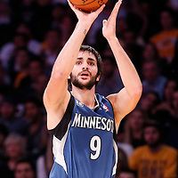 10 November 2013: Minnesota Timberwolves point guard Ricky Rubio (9) takes a jumpshot during the Minnesota Timberwolves 113-90 victory over the Los Angeles Lakers at the Staples Center, Los Angeles, California, USA.
