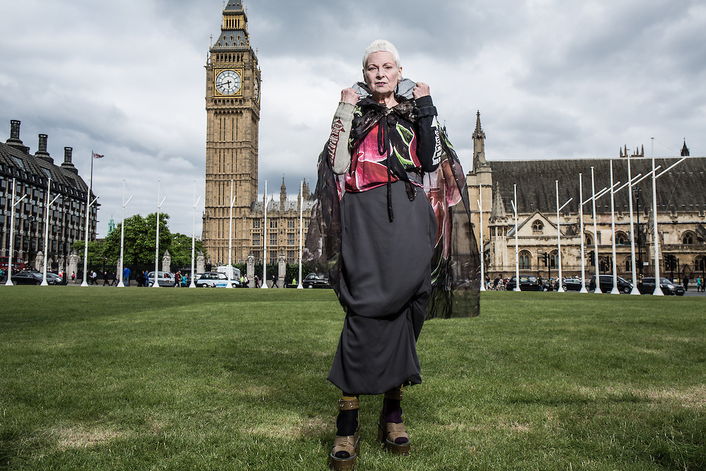 Dame Vivienne Westwood outside the Houses of Parliament in London poses for a portrait.