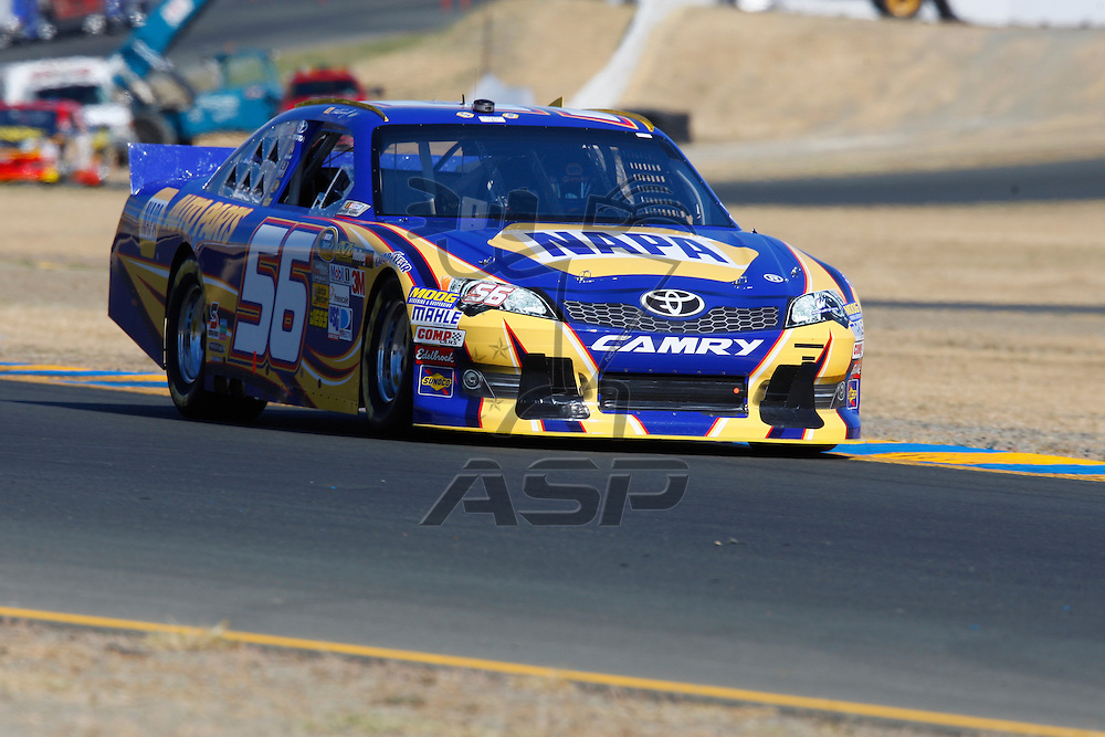 SONOMA, CA - JUN 23, 2012:  Martin Truex, Jr. (56) brings his car through turn 10 during a practice session for the Toyota Save Mart 350 at the Raceway at Sonoma in Sonoma, CA.