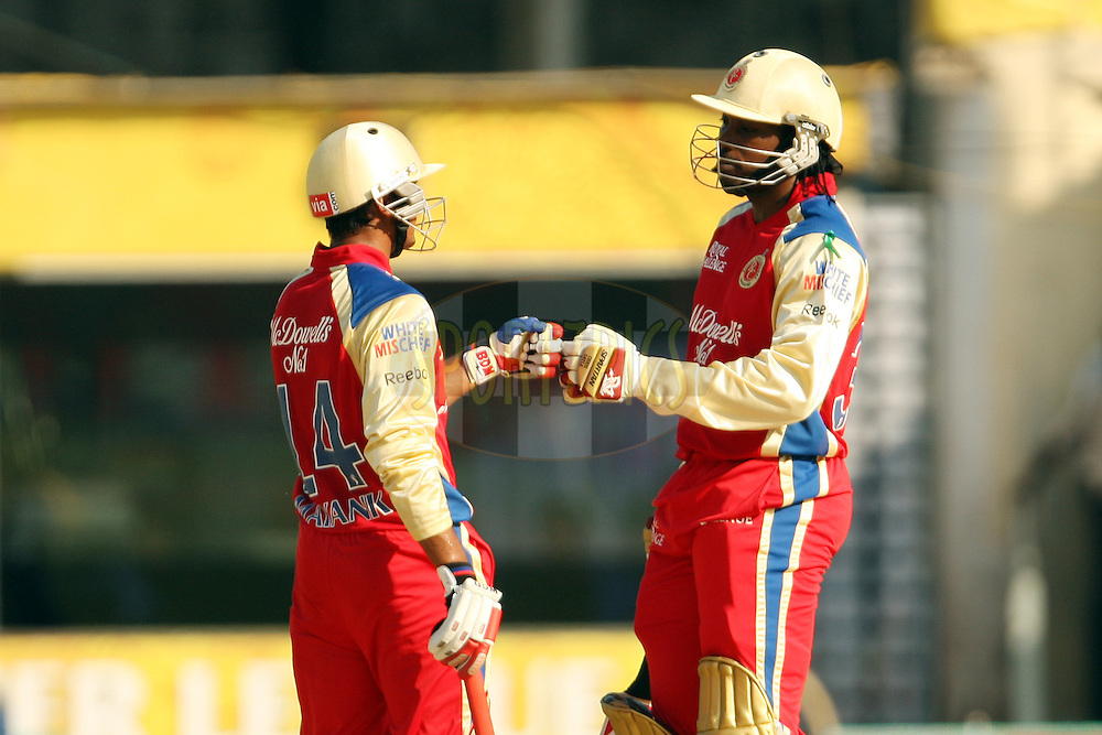 Mayank Agarwal and Chris Gayle congratulate each other on reaching 50 runs during match 13 of the the Indian Premier League ( IPL) 2012  between The Chennai Superkings and the Royal Challengers Bangalore held at the M. A. Chidambaram Stadium, Chennai on the 12th April 2012..Photo by Jacques Rossouw/IPL/SPORTZPICS