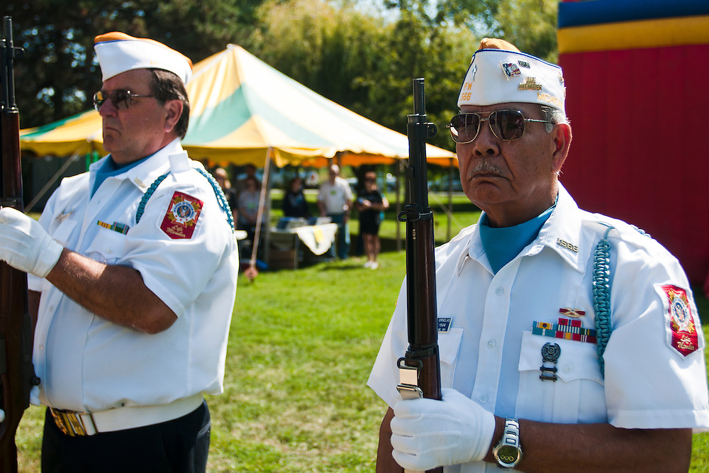 Lathan Goumas | The Bay City Times..Frank Ornelas, of Michigan Veterans of Foreign Wars Post 1566, prepares for a  21-gun salute during a September 11th memorial ceremony on Ojibway Island in Saginaw, MI. on Saturday September 10, 2011.