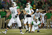Marshall Thundering Herd place kicker Amoreto Curraj (39) reacts after missing a kick against the North Texas Mean Green during the 1st half at Apogee Stadium in Denton, Texas on October 8, 2016. (Cooper Neill for The Herald-Dispatch)