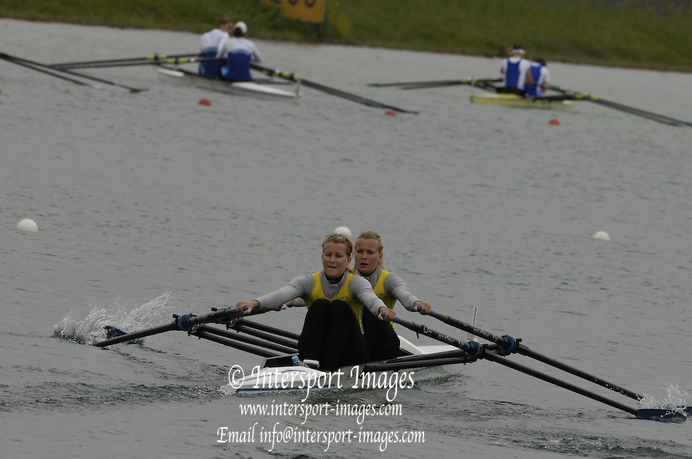 Munich, GERMANY, 2006, SWE LW2X, bow Lena Karlsson, Sara Karlsson, FISA, Rowing, World Cup,  on the Olympic Regatta Course, Munich, Fri. 26.05.2006. © Peter Spurrier/Intersport-images.com,  / Mobile +44 [0] 7973 819 551 / email images@intersport-images.com.[Mandatory Credit, Peter Spurier/ Intersport Images] Rowing Course, Olympic Regatta Rowing Course, Munich, GERMANY