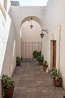 hall inside Santa Catalina monastery in the peruvian Andes at Arequipa Peru