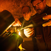 "Stephane Jallat in the cellar ""reading a bottle"" at Champagne Mumm.