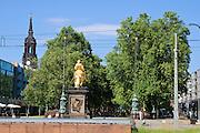 Hauptstraße, goldener Reiter, Dresden, Sachsen, Deutschland.|.Main Street, golden equestrian statue, Neustadt, Dresden, Germany