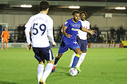 AFC Wimbledon midfielder Tom Soares (19) dribbling during the EFL Trophy match between AFC Wimbledon and Tottenham Hotspur at the Cherry Red Records Stadium, Kingston, England on 3 October 2017. Photo by Matthew Redman.
