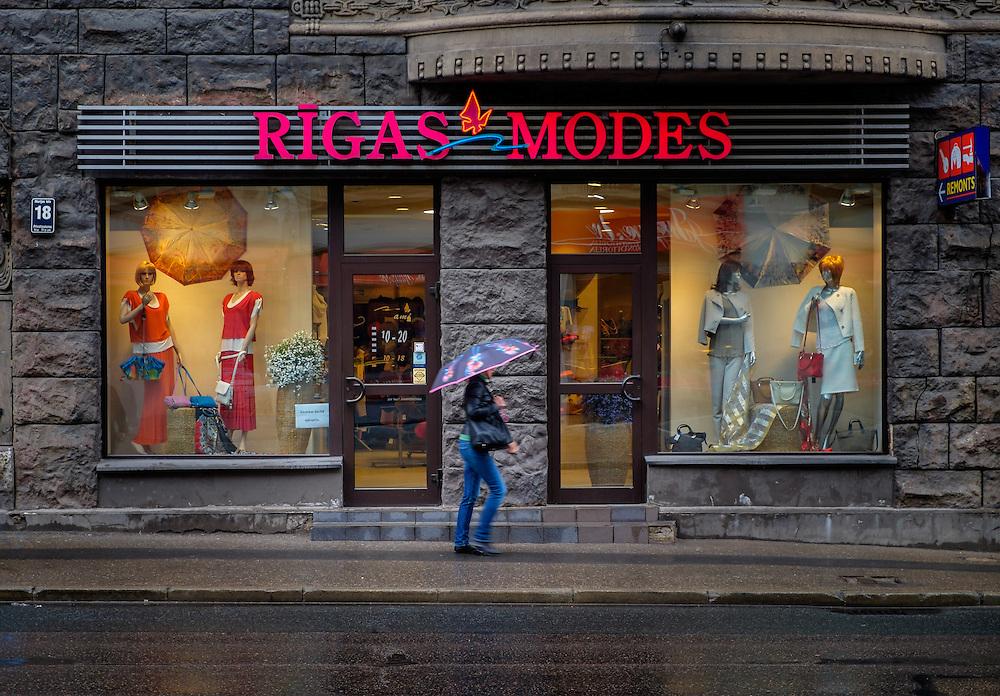 RIGA, LATVIA - CIRCA MAY 2014: Typical storefront in Marijas iela street in the center of Riga.