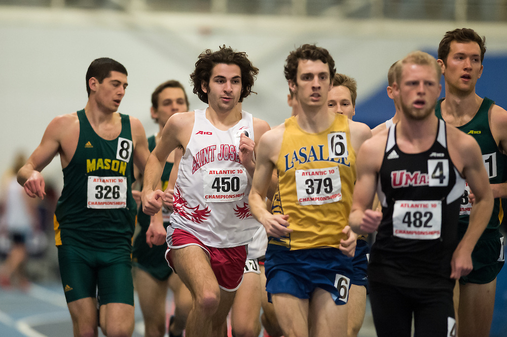 KINGSTON, RI - FEBRUARY 21: From L-R, Paul Adam #326 of George Mason, Quinn Davis #450 of Saint Joseph's, Brendan Robertson #379 of La Salle and Benjamin Groleau #482 of UMass Amherst compete during the men's mile run during Day 2 of the Atlantic 10 Indoor Track and Field Championships at Mackal Field House at the University of Rhode Island on February 21, 2016, in Kingston, Rhode Island. (Photo by Daniel Petty/Atlantic 10)