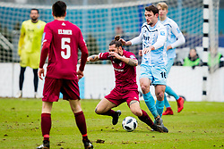 Luka Majcen of NK Triglav Kranj and Rok Grudina of ND Gorica during football match between NK Triglav Kranj and ND Gorica in Round #24 of Prva Liga Telekom Slovenije 2017/18, on March 18, 2018 in Sportni park Kranj, Kranj, Slovenia. Photo by Ziga Zupan / Sportida