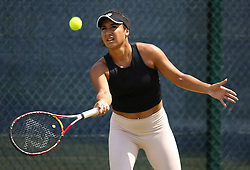 Great Britain's Heather Watson practices during day one of the Nature Valley Open at Nottingham Tennis Centre.