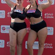 Bryony and Jada at London Marathon 2018 on 22 April 2018, Blackhealth, London, UK.