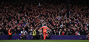 Adrian celebrates West Ham's second with the fans during the Barclays Premier League match between Crystal Palace and West Ham United at Selhurst Park, London, England on 17 October 2015. Photo by Michael Hulf.