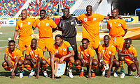 The Ivory Coast line up against Morocco at the Cairo National Stadium