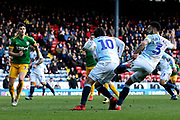 Blackburn Rovers forward Danny Graham (10) and Blackburn Rovers defender Derrick Williams (3) get in each others way in added time during the EFL Sky Bet Championship match between Blackburn Rovers and Preston North End at Ewood Park, Blackburn, England on 9 March 2019.