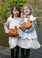 Pictured before the Children's Duck Parade  in Dublin's St Stephens Green were , Lucy Ryan [5]  Zoe Roberts [4]  both from Dublin . Picture Credit:Frank Mc Grath<br /> 28/3/16