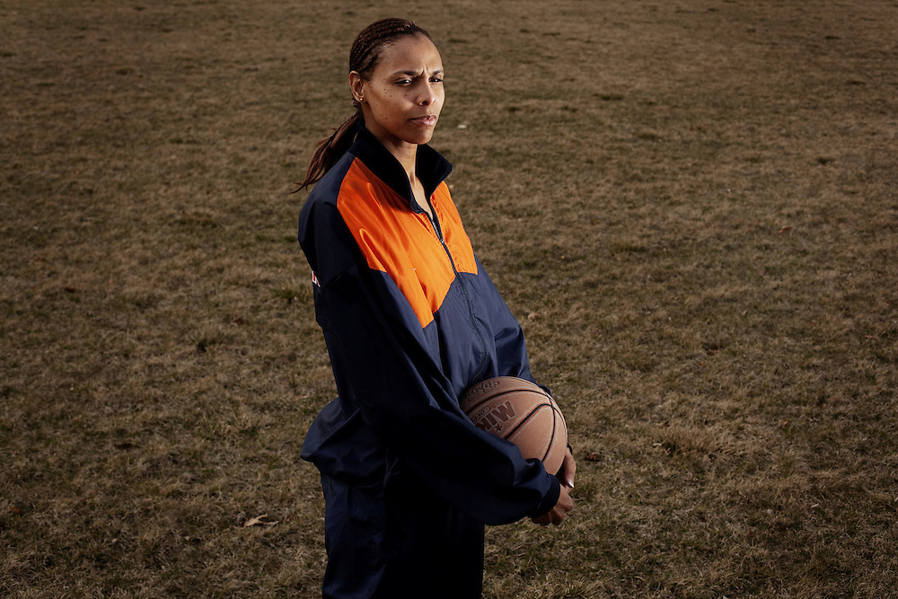 On December 21, 1984 Georgeann Wells became the first woman to ever dunk during a college basketball game. The only documentation however, was a tape made by the opposing team's coach, who hid the video. It was only recently uncovered, allowing Georgeann Wells her rightful title. She was photographed at her home in Dublin, OH on Wednesday, March 18, 2009.